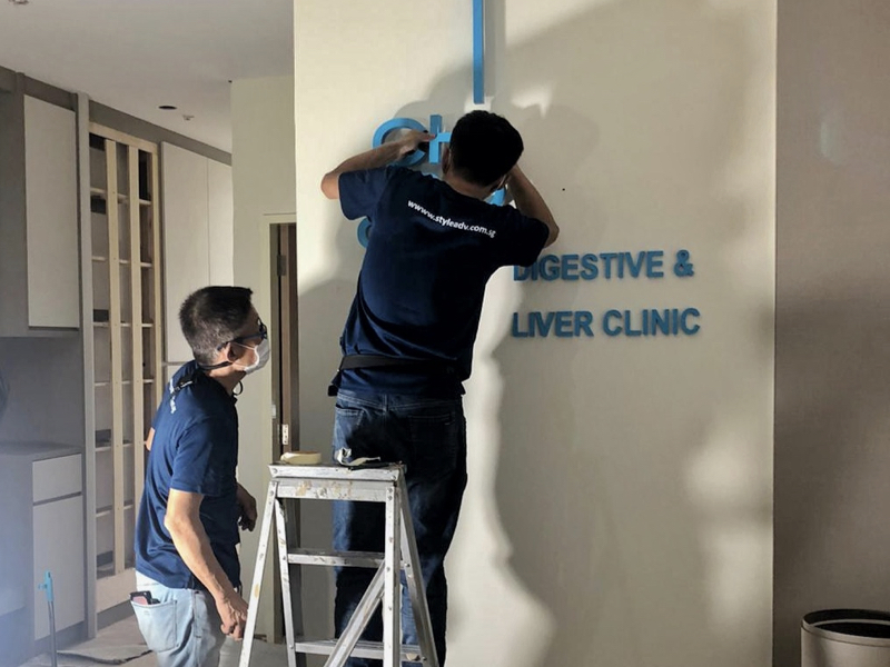 ch Poh clinic singapore 3d acrylic signage installation backlit