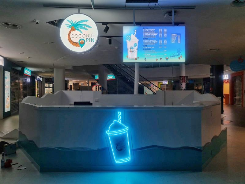 Trendy creative modern Neon sign for drinks stall