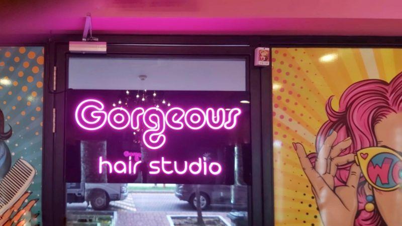 trendy modern neon sign for hair salon Singapore