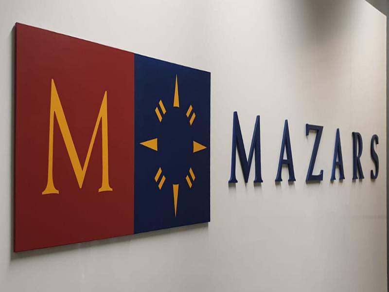 3D LASERCUT ACRYLIC signage for mazars Singapore